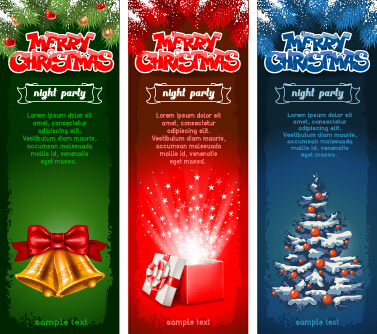 banner christmas night party vector set