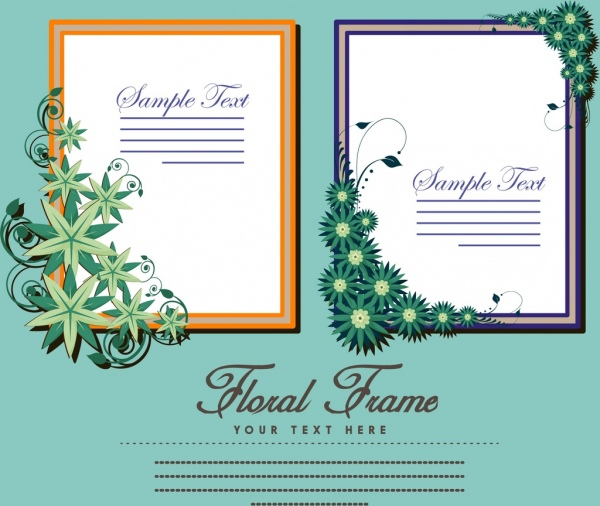banner design floral frames isolation classical colored style