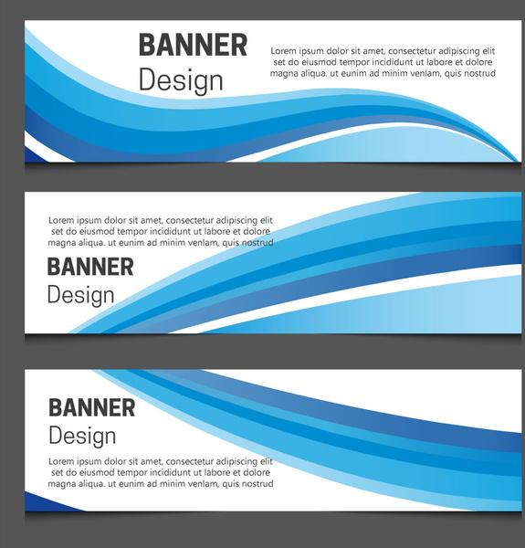 banner design sets on curved blue lines background