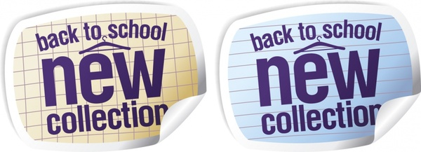 back to school sale stickers 3d curled up