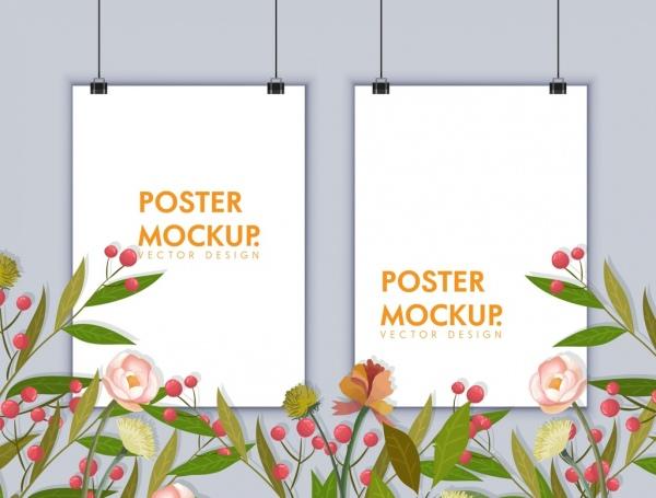 banner template frames mockup flowers decor