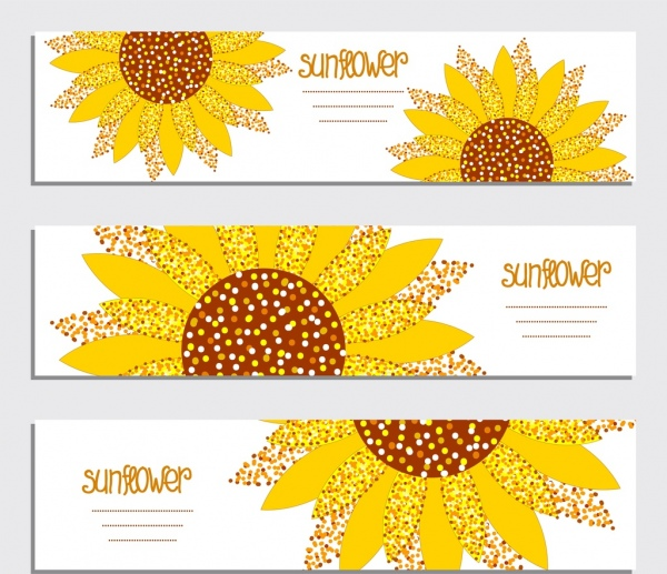 banner template sets sunflower icon free vector in adobe illustrator