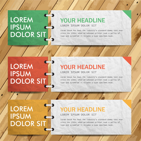 banner tickets set design with open note book