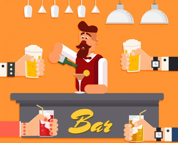 bar background bartender cheering hands icons colored cartoon