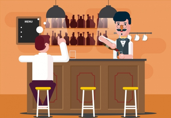 bar drawing bartender guest icons colored cartoon
