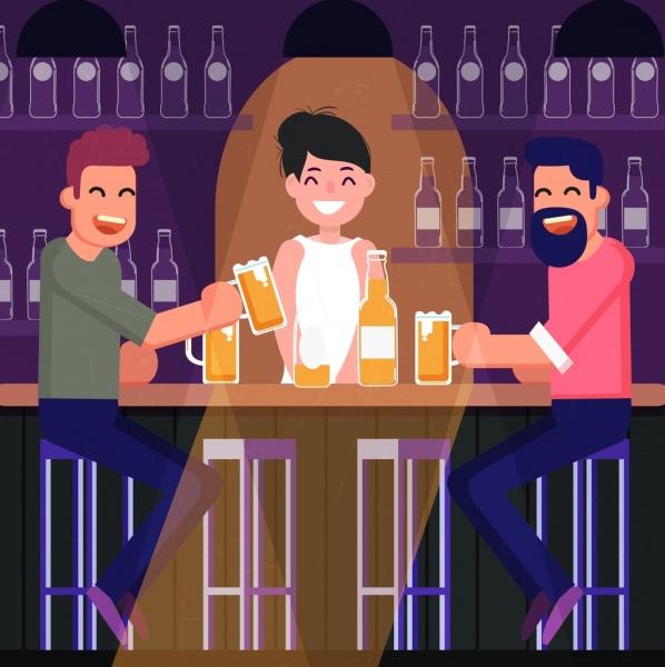 bar drawing joyful guests icons colored cartoon design