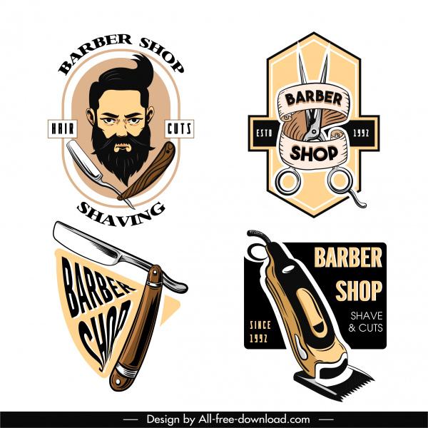 barber shop logo template classical design tools sketch