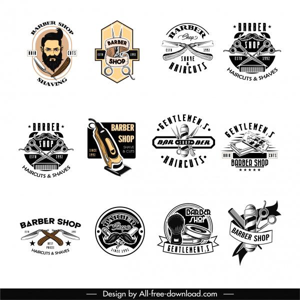 barber shop logo templates vintage design tools sketch