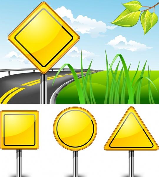 traffic signs templates shiny modern yellow design