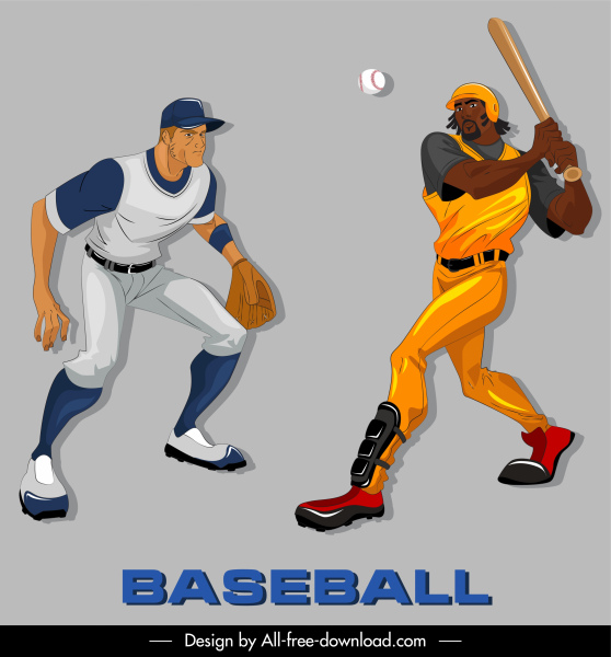 baseball icons colored cartoon characters sketch