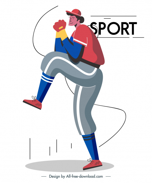 baseball player icon motion sketch cartoon character