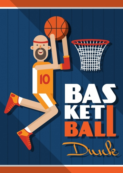 basket ball banner jumping athletic colored lat design