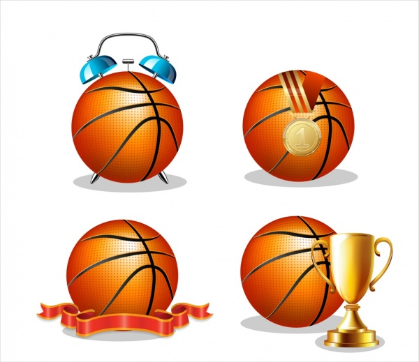 basket ball icons collection colored 3d design