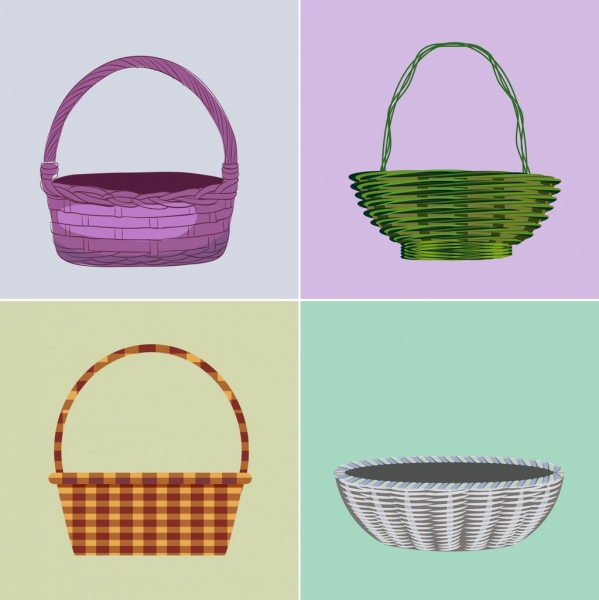 basket icons colored classical decor traditional craft design