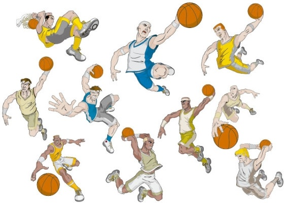 basketball cartoon characters vector