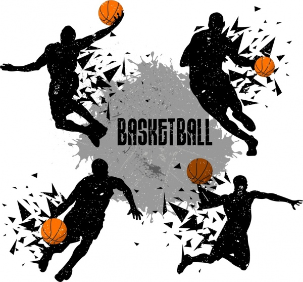 basketball player icons silhouette explosive design