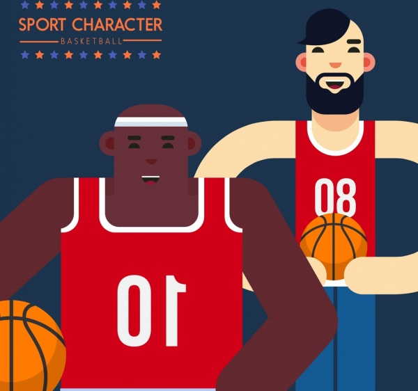 basketball players icons male cartoon characters