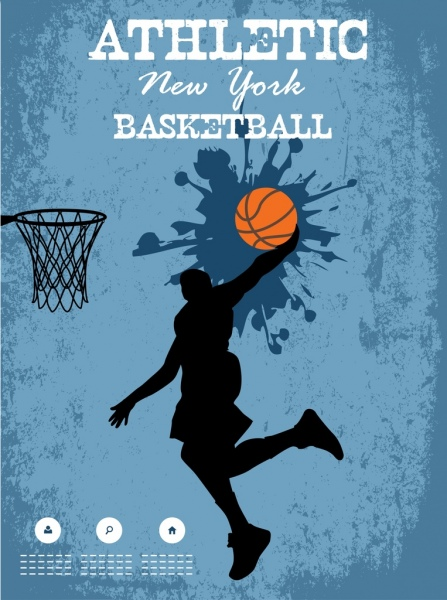basketball poster athlete silhouette grunge splashing decor