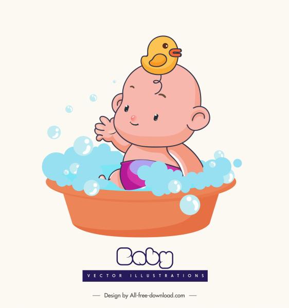 bathing baby icon cute cartoon character