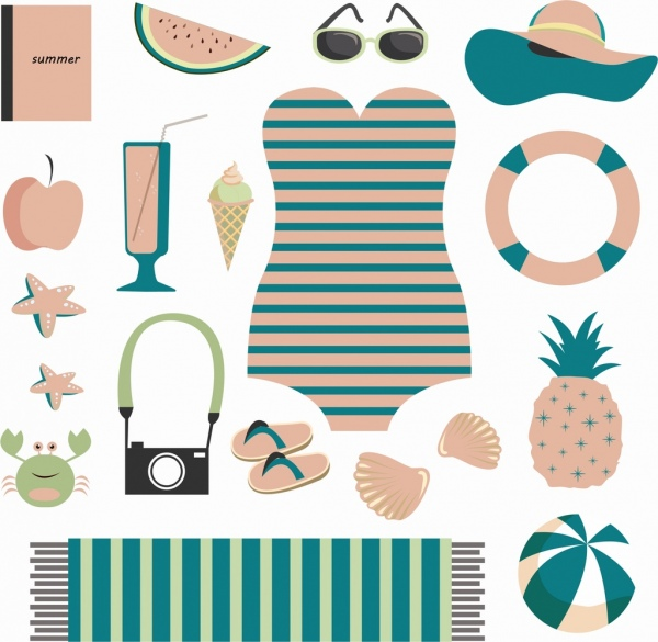 beach design elements personal accessories icons