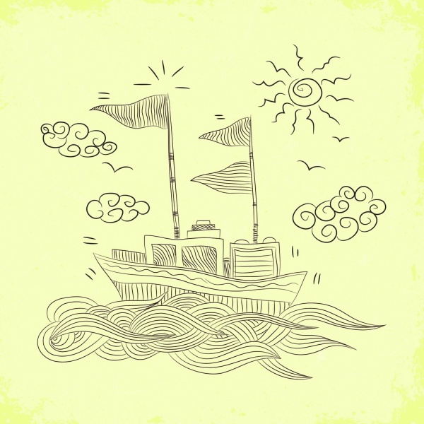 beach drawing handdrawn design wave boat sun icons