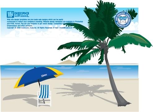 tropical beach background coconut umbrella icons decor
