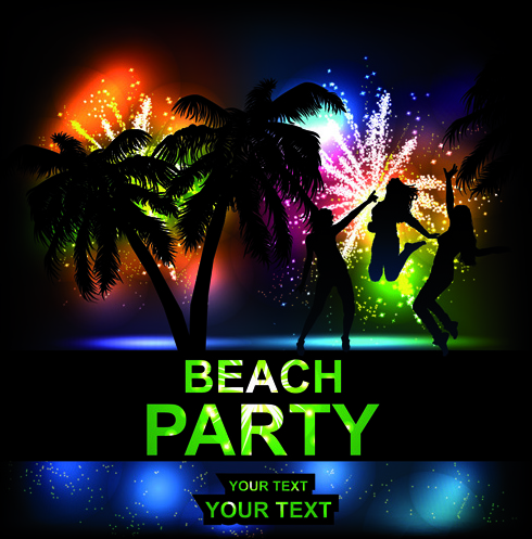 beach party backgrounds vector