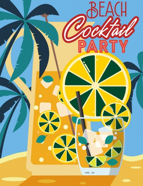 beach party banner glass lemon slice coconut icons
