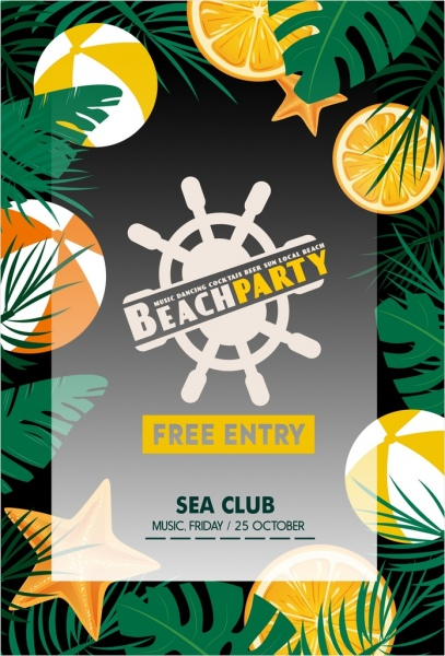 beach party poster sea symbols decoration colored design