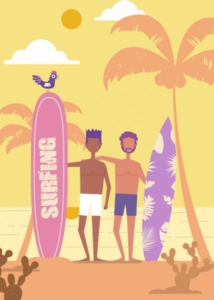beach recreation background men surfboard icons cartoon design