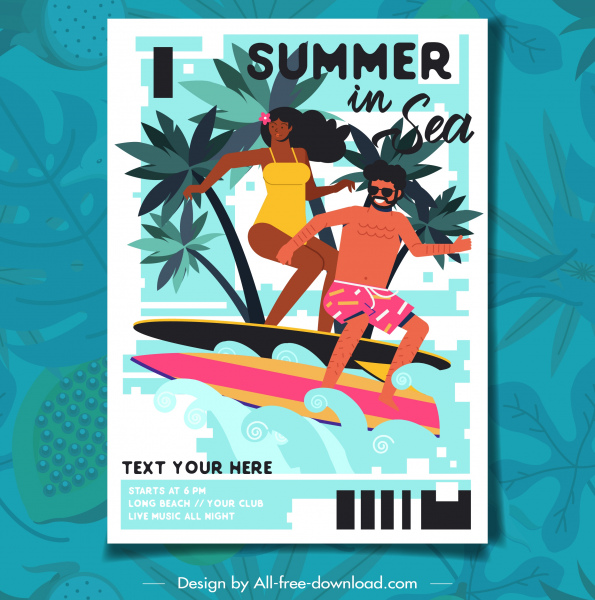 beach summer poster surfing couple icon cartoon characters
