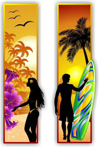 beach travel people silhouette banner vector