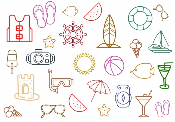 beach vacation design elements outline colored flat style