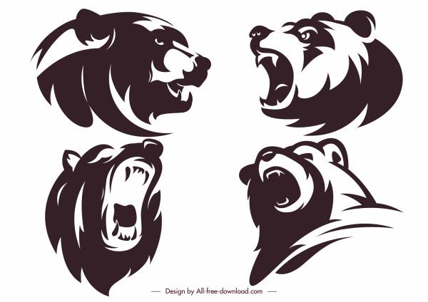 bear head icons emotional sketch silhouette handdrawn design