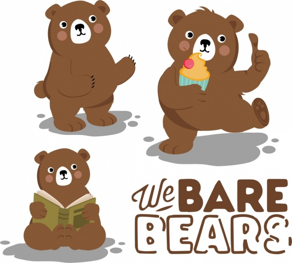 bears background cute stylized icons cartoon characters