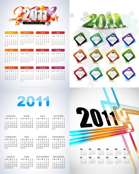 beautiful 2011 calendar template vector