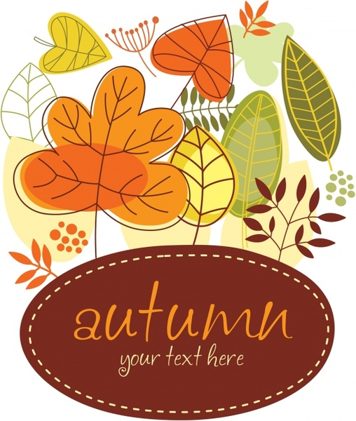 autumn background template classical colored flat leaves sketch