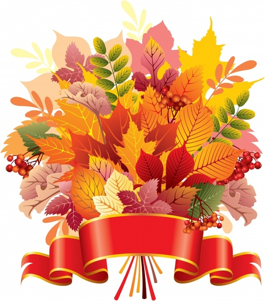 Decorative background autumn leaves 3d ribbon decor Free vector in