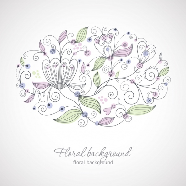 floral background template elegant flat handdrawn classic
