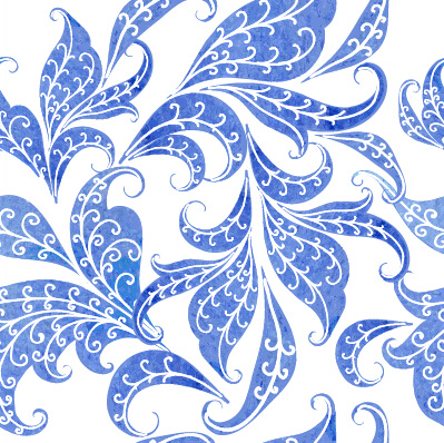 beautiful blue floral vector seamless pattern