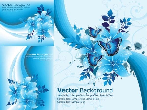 beautiful blue flowers vector