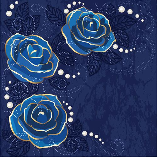 Beautiful Blue Rose Vintage Background Vector