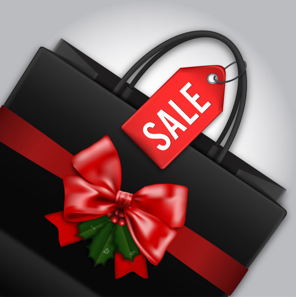beautiful bow bag with sale tag vector