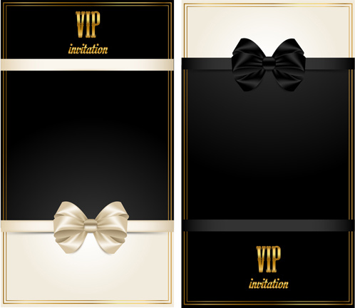 Beautiful Bow With Vip Invitation Card Vector Free 1 43mb