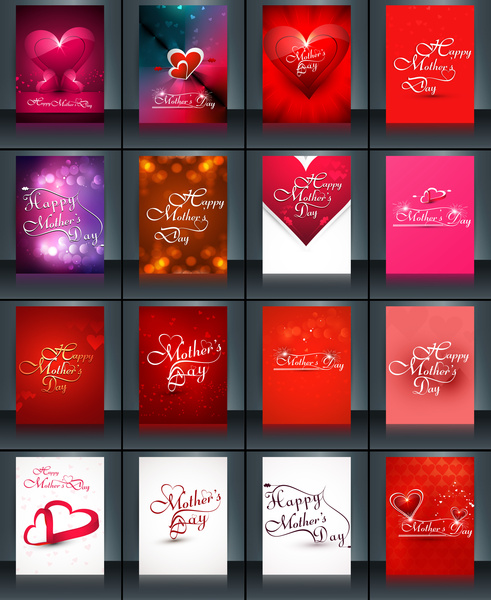 Beautiful brochure collection card set template mothers day