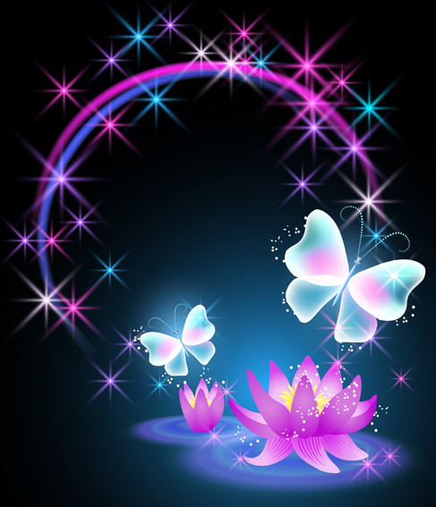 Beautiful Butterflies With Flowers Vector Background Free Vector In