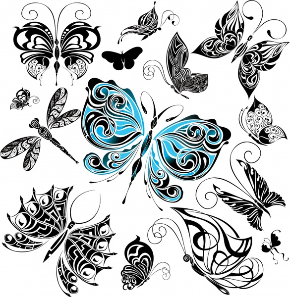 butterflies icons classical black white colored sketch