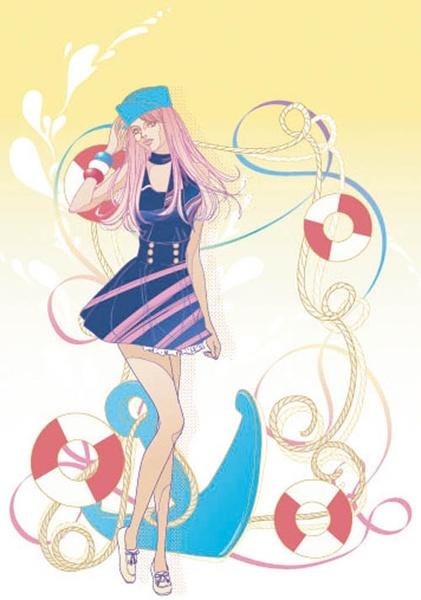 beautiful cartoon fashion crush 07 vector