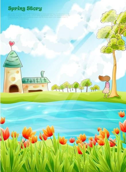 Beautiful Cartoon Spring Scenery Vector Graphics Free
