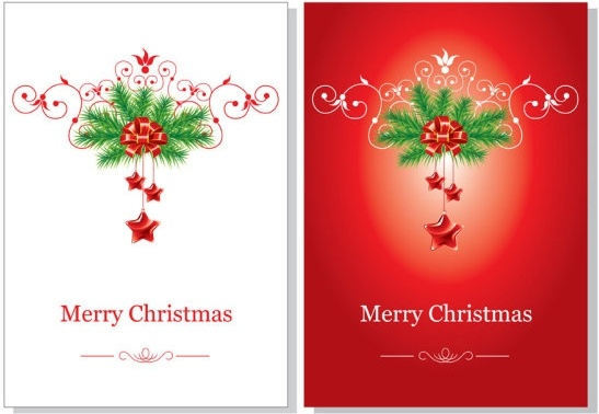 beautiful christmas cards vector free vector 321mb